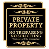 """ZHG No Trespassing Signs 2-Pack Private Property No Soliciting Warning Sign 12"""" x 12"""" Heavy 0.40 Aluminum Rust Free Safety Sign Professional Printing UV Protected Weatherproof"""