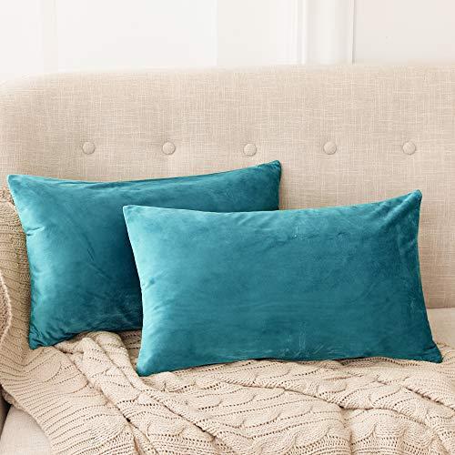 Deconovo Fundas para Cojines de Almohada del Sofá Cubierta Suave Decorativa Protector para Hogar 2 Piezas 30 x 50 cm Turquesa