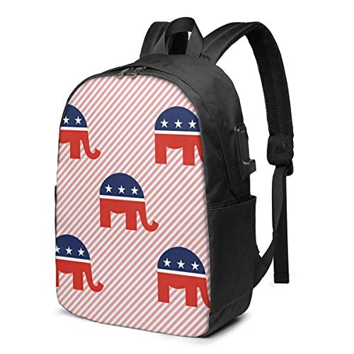 AOOEDM Red GOP Republican Elephant 3D Printing Laptop Backpack Men Women USB Port Slim Business Computer Backpack Anti-Theft Water Resistant Travel Laptop Bag Lightweight 17 Inch