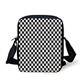 Kids Crossbody Messenger Bag Purse,Monochrome Composition with Classical Chessboard Inspired Abstract Tile Print Decorative
