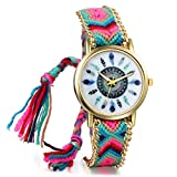 JewelryWe Boho Reloj De Pulsera Étnica De Mujeres, Azul Rosa Cuerda De Tela Tejida, Reloj Trenzado De Hilos Ajustable, Plumas Indígenas, Regalo para el Dia de la Madre, Regalo Para Chica