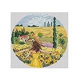 kit de punto de cruz Chica de campo de flores 30x30cm Kit de bordado de punto de cruzcon estampado preimpreso, para principiantes, niños y adultos,
