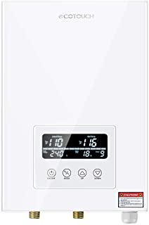 Tankless Water Heater Electric ECOTOUCH 9KW 240V On Demand Water Heater Self-Modulating Instant Hot Water Heater ECO90 White
