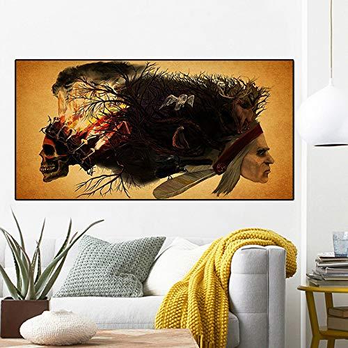 Native Skull Abstrakte Malerei Wolf Eule Hirsch Poster und Drucke Leinwand Kunst Skandinavische Wandbild Wohnzimmer 30x60CM