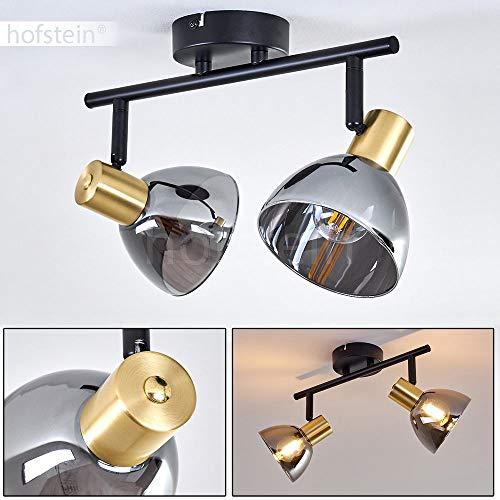 Plafondlamp Mariefred, plafondlamp van metaal/glas in zwart/glas/rookglas met verstelbare schijnwerpers, 2 vlammen, 2 x E14 fitting, max. 25 Watt, geschikt voor LED-lampen