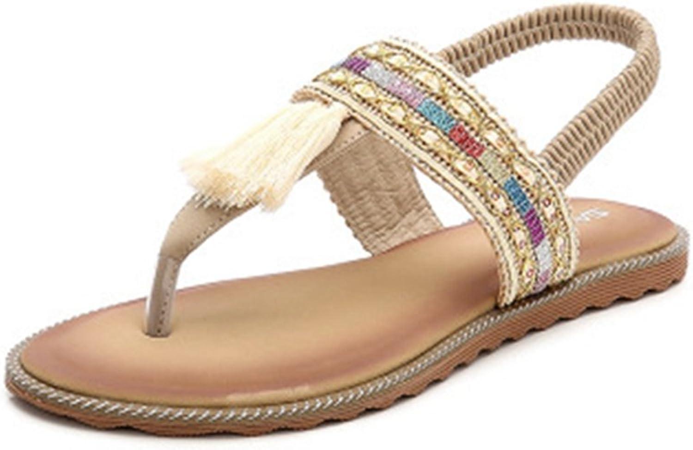 GIY Women's Fringe Flip Flops Sandals Flat Summer Beach Thong Comfort Elastic Tassel Sandals Apricot