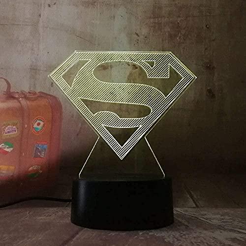 FUTYE 3D Led Superman Logo Símbolo Luz Noche Mesa Lámpara 7 Color Cambio USB RGB Juguetes Niños Regalo Regalo Regalo Regalo Regalo Regalo Regalo