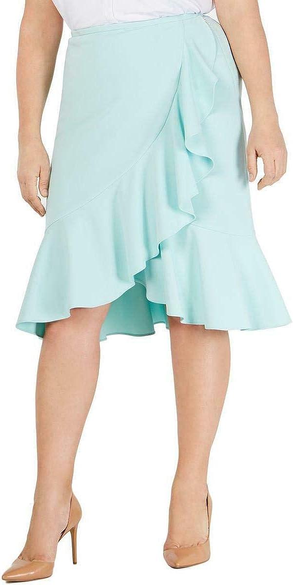 CALVIN KLEIN Women's Plus Ruffled Tulip-hem Straight, Pencil Skirt