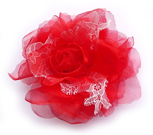 rote Blume pin: Organza und Spitze