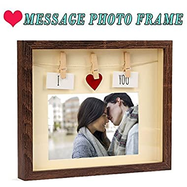 Giftmon Love Picture Frame With Mat By, MDF Wood & Glass Pane, Complete With Red Heart & Card & Clothes Line & Pin, Most suitable for Couples, Family, Friends Picture, Fun 4x6 Photo Frame Box