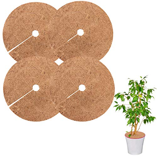 4PCS Coco Fiber Mat Coconut Fibers Mulch Ring Tree Protector Mat, 12 Inch Natural Coco Liner Replacement for Potted Plants Tree Protection