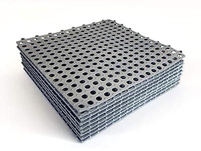 """VINTEK Tile 103 Interlocking Vinyl PVC Drainage Floor Tiles Mat Non-Slip for Pool Shower Locker Bathroom Deck Patio Boat SPA Wet Area Matting Inside/Outside (Pack of 9 Tiles - 12"""" x 12"""", Gray)"""