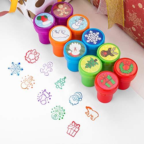 Kesote Timbrini Natalizi per Bambini Multicolori Timbri di Plastica Auto Inchiostrazione Timbri di Natale per Scrapbooking Regalo Natalizio, Set di 10