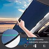 Parasol para coche, doble capa, plegable, visera solar automática retráctil, estor para parabrisas delantero y trasero