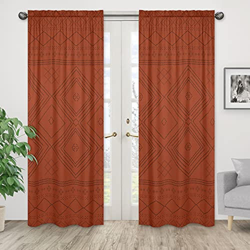 Boho Bohemian Tribal Black Orange Rustic Geometric Decorative Window Treatment Panels Curtains Drapes Covering Bedroom Living Room Decor Aztec Urban Southwestern Indian Retro Farmhouse set of 2 42x84