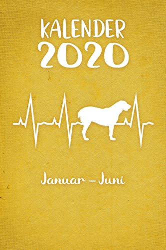 Kalender 2020: Gelber Tageskalender Alabai Herzschlag Hunde 1. Halbjahr Januar Juni ca...