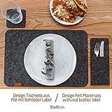 Miqio® Design Filz Tischset abwaschbar   Mit Marken Echtleder Label   18er Set - 6 Platzsets abwaschbar, Glasuntersetzer, Bestecktaschen   dunkel grau anthrazit   Filzmatte Platzdeckchen abwischbar - 5