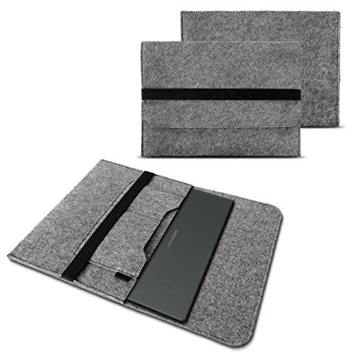 Sleeve Filzhülle Medion Akoya E7424 E7420 Notebook Tasche Ultrabook Cover Case in Grau mit Innentaschen & sicheren Verschluss von NAUC