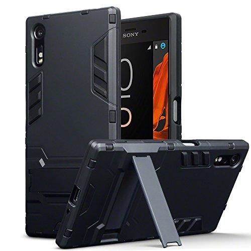 TERRAPIN, Kompatibel mit Sony Xperia XZ/XZs Hülle, Silikon + Polycarbonat Tasche mit Standfunktion - Schwarz
