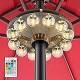 HONWELL Luz para Sombrilla,Luz de patio que funciona con pilas con control remoto de RF,Luz Parasol de Patio Lampe,luz de sombrilla de patio que cambia de 12 colores para sombrilla, tiendas de campaña