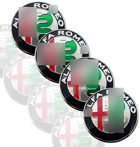 Aieryu 4Pcs Tapas Centrales de Llantas para Alfa Romeo Mito 147 156 159 166, 3D Emblema Aluminio Tapas Centrales de Bujes Pegatinas con el Logotipo Rueda Accesorios, 56mm