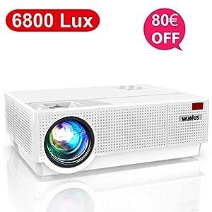 Proyector WiMiUS 6800 Lúmenes Proyector Full HD 1920x1080P Proyector Cine en Casa Soporte 4K Contraste 9000: 1 Ajuste Digital 4D Pantalla 300″ Sonido Estéreo Proyector LED 90,000H PS4 HDMI/VGA/AV/USB