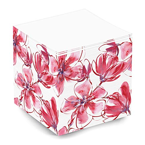 Cute Pink and Red Floral Blank Note Memo Cube for Teen Girls and Women 500 Sheet 35x35x35 Inch Sticky Note Cube for School Supplies and Office Supplies