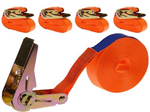 INDUSTRIE PLANET 4 Stück 800kg 6m Spanngurte mit Ratsche 1 teilig einteilig Zurrgurte Ratschengurte 25mm orange 800 daN 0,8t