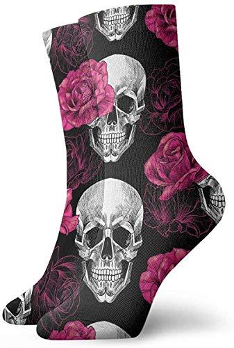 Love girl Unisex Crew Socken Totenköpfe Und Rosa Rosen Mode Neuheit Dry Sportsocken Strümpfe 30cm