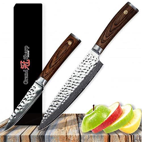 Damasco Knife Set 2 PCS CHEF PARING CUCHILLO VG10 Japonés Damasco Acero inoxidable Cuchillos de cocina Herramientas Gadgets Best Family Gift