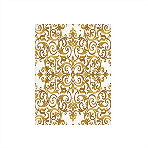 Decorative Privacy Window Film Victorian Golden Lace Antique Baroque Pattern Oriental Ottoman Royal Square Pattern No Glue Self Static Cling For Home Bedroom Bathroom Kitchen Office Decor White Gold