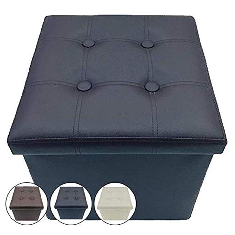 レンディションいう警官収納スツール 足置き オットマン 椅子 合皮 レザー 正方形 ブラック