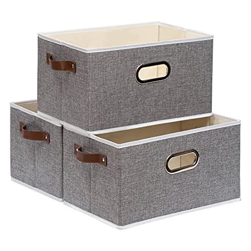 Yawinhe 3 PCS Cajas de almacenaje, Cubos de almacenaje sin tapa, Cajas de Almacenamiento Plegables, Organizador para Juguetes, Libros, Ropa (Gris, 38x25x21cm)