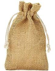 10 bolsas de yute con cordón de algodón. Tamaño: 30x20 cm, 100% yute, decoración invernal, envoltorio de regalos de navidad (natural)