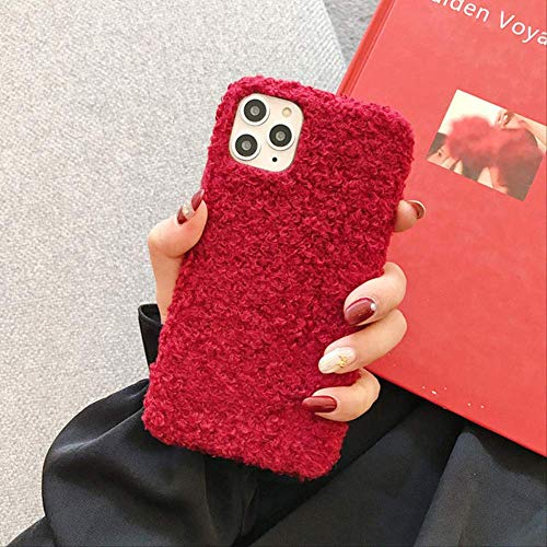 Plush Solid Color Phone Case For iPhone 11 Pro Max 7 8 6 6S Plus X XR XS Max SE 2020 Winter Warm Furry Cloth Soft PU Back Cover For iPhone XS R