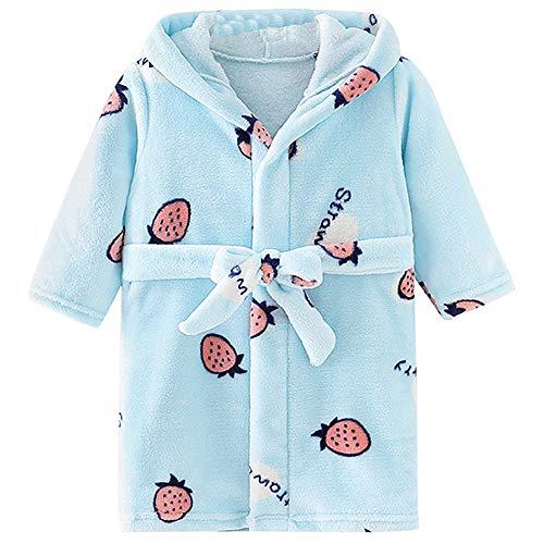 YFPICO Baby Bademantel mit Kapuze Tierdruck Jungen Mädchen Bademäntel Baumwolltücher Frottee Flauschiger Bademantel, Blaue Erdbeere, 80/86(Etikettengröße:90)