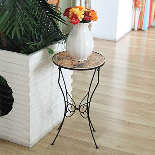 YINUO Style country américain en fer forgé support de pot de fleurs décoration plateau de table tabouret de tabouret comme support de pot de fleurs décoration salon stand de fleurs noir taille: 56x31.