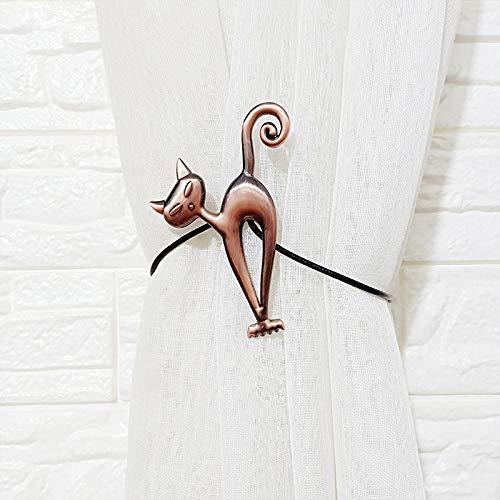 HNLHLY Home-Office-decoratie Europese dierengordijn, gordijn, magneetgesp, creatieve, hoogwaardige stansvrije binding, gordijn, magneetgesp, 1 paar Red Alten