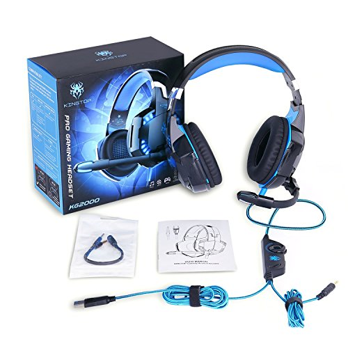 Gaming Headset PS4 KINGTOP KG2000 Wired Stereo Gamer Headphones with Microphone Bass LED Light Volume Control for PlayStation 4 Xbox One S Nintendo Switch PC Laptop Tablet Mobile - Black & Red