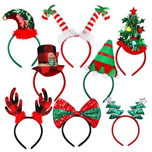 URATOT 8 Pack Christmas Party Headbands Xmas Party Costume Headbands Reindeer Hair Hoop Christmas Photo Prop Booth Headbands for Christmas Party Favors
