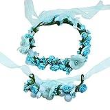 2X Toruiwa Braut Haarband Stirnband Haarkranz Blumenkrone Garland mit Blumen Armband zum Hochzeit Parteien