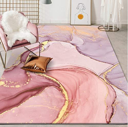 Teppiche Modern Nordic Baby Baby Schöne lila Rose Gold Teppich Schlafzimmer Wohnzimmer Fußmatte Kinder, 100 * 160CM