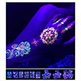 """Temporary Tattoos – 1 Sheet Lotus Flower Design Body Paint Art Blacklight Reactive Light Festival Accessories Glow in the Dark Party Supplies 