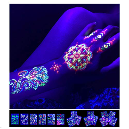 """Temporary Tattoos – 1 Sheet Lotus Flower Design Body Paint Art Blacklight Reactive Light Festival Accessories Glow in the Dark Party Supplies   7.2"""" x 5.2"""" Temp Great for EDM EDC Party Rave Parties"""
