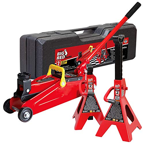 BIG RED T82001S Torin Hydraulic Trolley Service/Floor Jack Combo with 2 Jack Stands and Blow Mold Carrying Storage Case, 2 Ton (4,000 lb) Capacity, Red