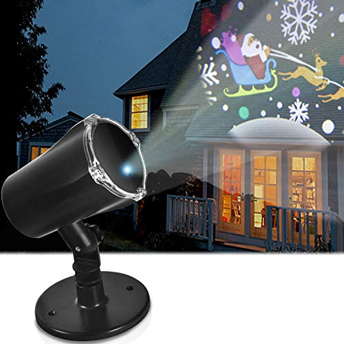 OHMU LED Projector Light, Indoor Outdoor Waterproof LED Snowman 3D Animation Projection Lamp for Theme Party, Holiday, Home Birthday Party and Garden Deco (Black)