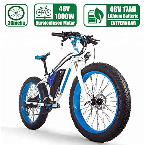 LIJIE 1000w Brushless Motor E-Bike E Fat Bike Mountainbike26 Zoll E-Bike Herren Damen48v 16ah Lithium-Batterie 21-Gang Vollfederung Hydraulische Scheibenbremse Elektrisches Fahrrad,Blau