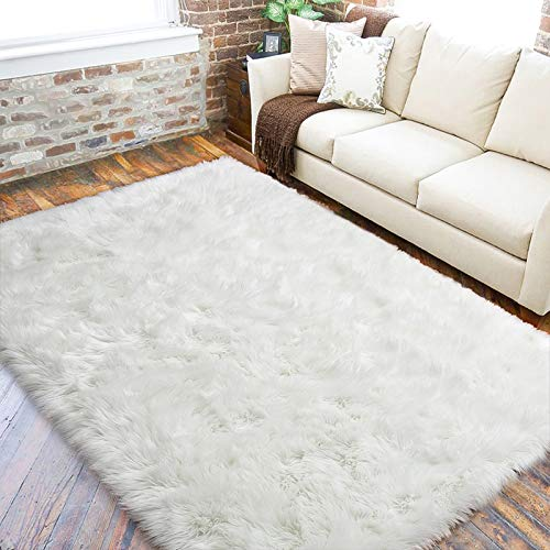 LOCHAS Ultra Soft Fluffy Rugs Faux Fur Sheepskin Area Rug for Bedroom Bedside Living Room Carpet Nursery Washable Floor Mat, 5x8 Feet White