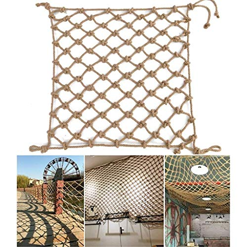 shh Safety net Kids Stair Balcony Fall Protection Net Safety Net Yellow Hemp Rope 6mm Decoration Netting Patios Toys Pets Playground Playground Protective net (Color : 12cm Mesh, Size : 1 * 1M)