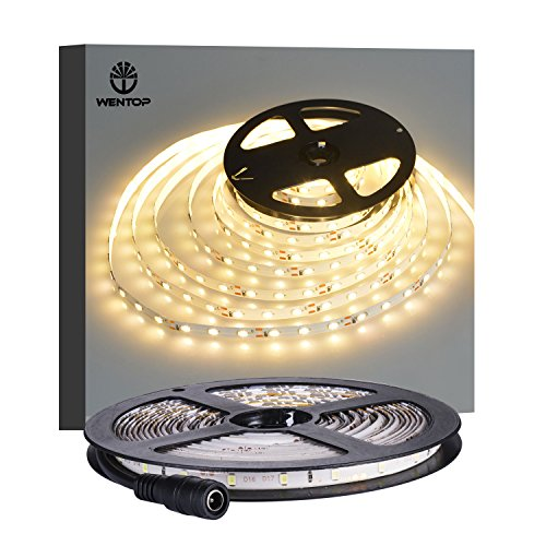 WenTop Led Strip Lights Waterproof Led Tape Light 12v SMD 3528 16.4 Ft (5M) 300leds 60leds/m Warm White Flexible Tape Light for Kitchen, Closet, Mirror, Ceiling - Not Include Power Supply